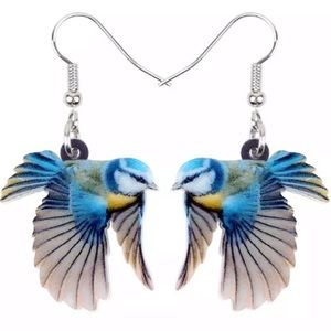 Flying Blue Tit Bird 2D Acrylic Earrings